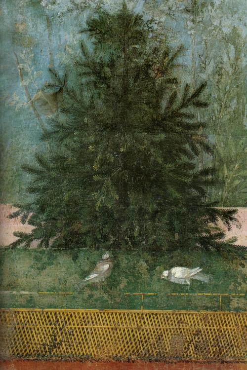 Villa_di_livia,_affreschi_di_giardino,_parete_lunga_occidentale,_abete