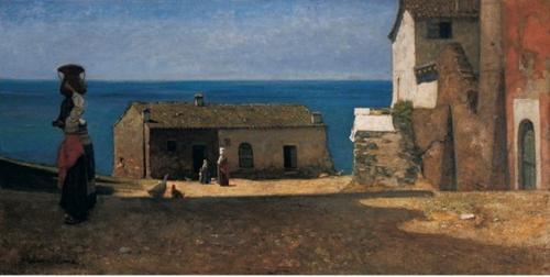 Vincenzo Cabianca, Paesaggio con figure, 1870 circa, collezione privata, cm 30 x 60