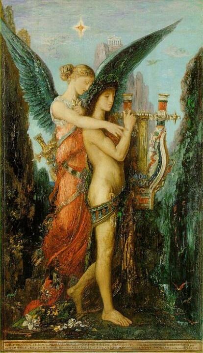 Gustave Moreau (1826–1898), Hésiode et la Muse, 1891, Museo d'Orsay