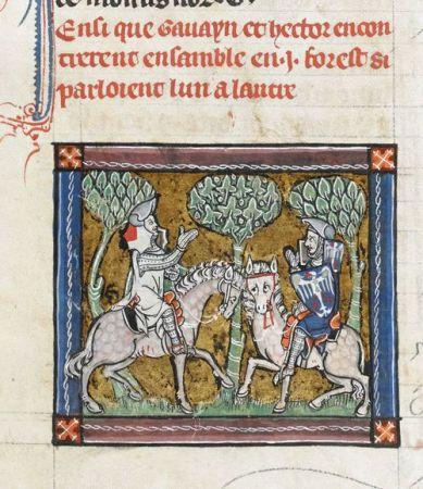 Hector e Gawain si incontrano nella foresta, miniatura. Francia del Nord, (Saint-Omer o Tournai), c. 1316, MS 10294, f. 29v